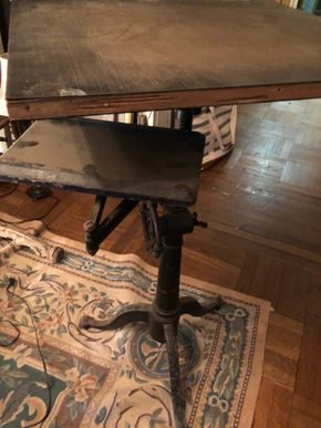 Lot 015 Antique industrial adjustable height table/music stand