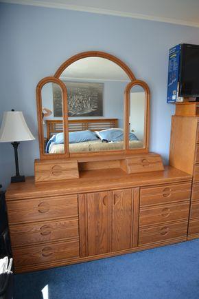Lot 023 Oak Wood 6 Drawer Dresser 30.5H x 70W x 18L w/attached Mirror 41.625H x 48W x 2L PICK UP IN SEAFORD, NY