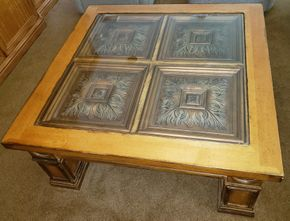 Lot 007 Wooden Coffee Table Glass Top 19..625H x 45W PICK UP IN HEWLETT,NY