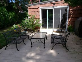 Lot 021 Lot of Outdoor Metal Patio Furniture 3-Seater Sofa 29.5H x 72W x24D / 2 Seater Sofa 28.5H x 48W 24D Coffee Table 18H x 25W x40L PICK UP IN HEWLETT,NY