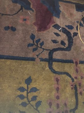 Lot 064 Large 1920s Approx 9x12 Chinese Art Deco Rug -No Fringe Some Stains