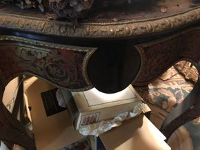 Lot 056 Carved and handpainted cabriolet table with a lot of flaking/repair  42x38