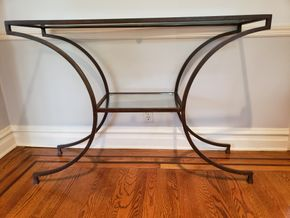 Lot 004 Metal Frame Console Table 34H x 48W x 15D PICK UP IN GREAT NECK,NY