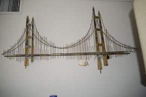 Lot 028 Curtis Jere Style Brutalist Wall Sculpture Golden Gate Bridge 58H x 32W PICK UP IN GARDEN CITY