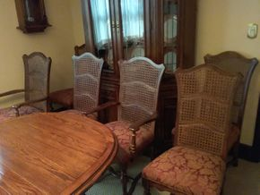 Lot 027 Lot Of 6 Custom Ethan Allen Upholstered Wood  Chairs 2 Arm 4 Side 41.5 x 18,5 x 18.5 PICK UP IN GARDEN CITY