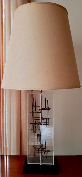 Lot 003 PU Tall Lucite Table Lamp 34H x Base 8W AS IS  PICK UP IN GREAT NECK, NY