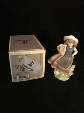Lot 037 Lladro Sweet Scent With Box. 6.5 Inches H  PICK UP IN STEWART MANOR.