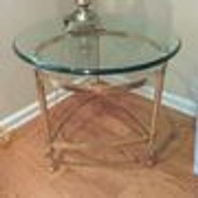Lot 104 Brass And Glass End Table 22H x 23 in Diameter PICK UP IN GARDEN CITY