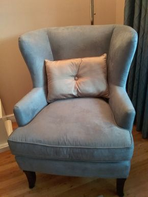 Lot 035 Blue Better Homes and Gardens Microfiber Wing Back Chair 40H x 39W x 33.5L PICK UP IN COMMACK