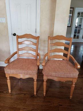 Lot 034 Dining Armchairs w/Upholstered Seat  Lot of 2 40H x 20.5W x 19.5L PICK UP IN MALVERNE,NY