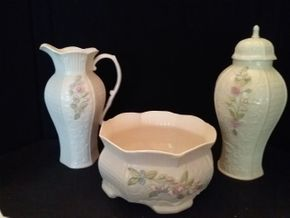 Lot 098 Millennium Collection Belleek Bowl Pitcher and Vase 12 10 and 4.5 Inches Tall PICK UP IN ROCKVILLE CENTRE