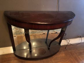 Lot 055 Pair of Demilune tables AS IS
