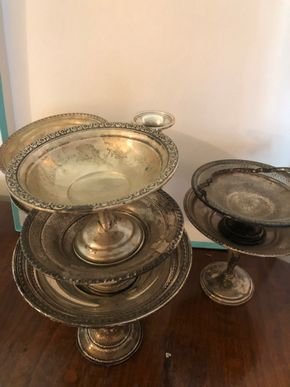 Lot 003 PU LOT OF 7 STERLING SILVER COMPOTES AND 1 Pair of Sterling Silver Candlestiicks PICK UP IN WEST HEMPSTEAD