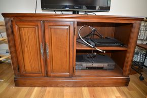 Lot 027 Media Console Wood 1 Cabinet 27H x 45W x 19.5L PICK UP IN MINEOLA, NEW YORK