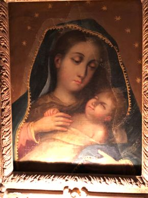 Lot 121 Madonna and Child Framed Oil on Canvas Early 20th c Antique Good condition Does not appear to have been restored 13Hx10W