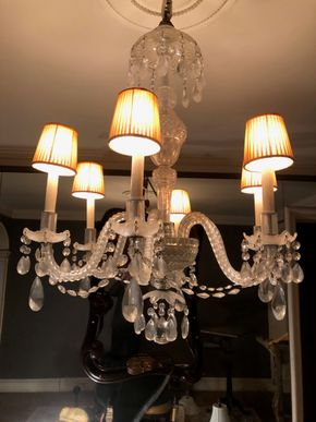 Lot 016 Antique Crystal Chandelier 6 Armed w/Hats