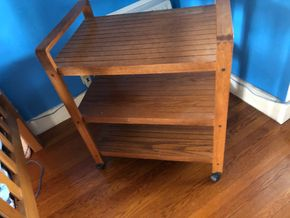 Lot 010 3 Shelf  Wooden Cart on Casters PICK UP IN GARDEN CITY