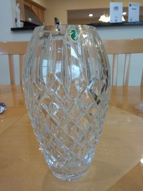 Lot 037 Waterford Vase 9.5 Inches Tall PICK UP IN OCEANSIDE