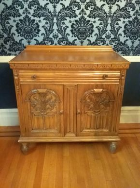 Lot 005  Hand Carved Oak Small Buffet 37H x 18W x 40L PICK UP IN ROCKVILLE CENTRE