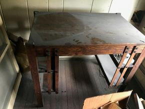 Lot 018 Arts And Crafts Desk 29H x 21W x 32L PICK UP IN LYNBROOK