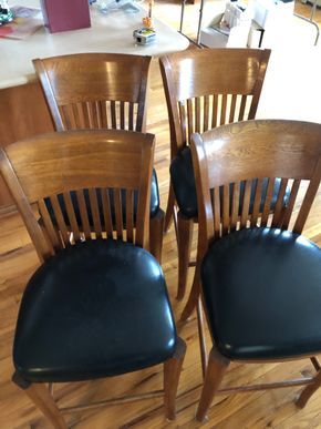 Lot 017 Lot of 4 Barstools leather and wooden AS IS ITEMS MUST BE PICKED UP IN LONG BEACH