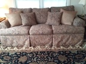 Lot 033  Ethan Allen Custom Upholstered 3 seat Sofa 32 x 39 x 88 PICK UP IN GARDEN CITY