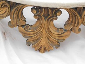 Lot 014 Baroque Marble and Gold Decorative Wall Shelf 7H x 26.875W x 8L  PICK UP IN CENTERPORT