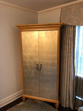 Lot 019 Delivery Custom Armoire 2 Door w/Drawers and Pullout in Silver Leaf Doors 41W x 77H x 18D PICK UP IN NEW HAVEN, CT