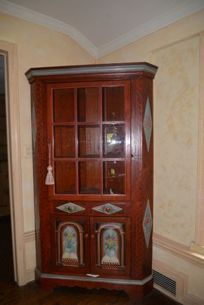 Lot 001 Pick Up /Paying Wood-Glass Corner Cupboard /2-Shelves/Lower Storage Cabinet 74H x 34W x 5L PICK UP IN PORT WASHINGTON, NY