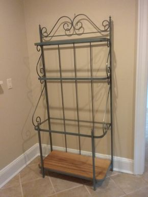 Lot 076 Metal and Glass Bakers Rack 73.5H x 16.5W x 35L PICK UP IN OLD WESTBURY