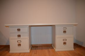 Lot 014 POTTERYBARN BEDFORD DESK WITH 3 DRAWER AND 2 DRAWER FILE CABINET 29.5H X 32 W X 70L PICK UP IN PORT WASHINGTON