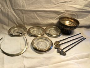 Lot 007 Lot of Sterling Silver Items including 4 iced tea spoons 4 coasters 1 choker 1 compote
