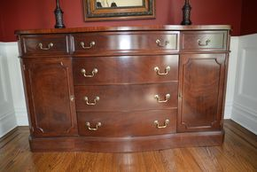 Lot 002 Mahogany 6 Drawer Sideboard/Buffet with 2 Bottom Storage Cabinets 36H x 62W x 21L PICK UP IN GARDEN CITY