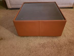 Lot 011 PU/PAY AT TAG SALE/ Mid Century Square Glass Top Coffee Table  27W x 27L x 14 H PICK UP IN EAST ELMHURST ON AUG 19TH