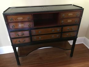 Lot 039 Antique 10 Drawer Writing Desk 39H x 14W x 43.5L PICK UP IN LAWRENCE