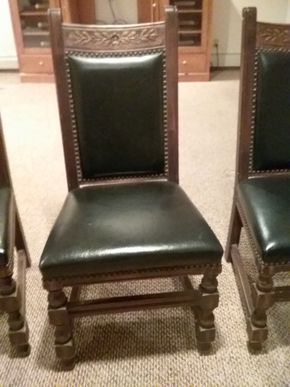 Lot 009 Lot Of 4 Leather and Hand Carved Nailhead Wood Chairs 40.5 x 18.5 x 32.5 PICK UP IN OCEANSIDE