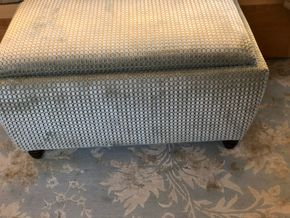 Lot 018 Custom Made Ottoman w/Storage in Pollack Silk and Velvet Material Circa 2008 PICK IN NEW HAVEN,CT  37L x 25W x 19H PICK UP IN NEW HAVEN, CT