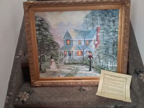 Lot 037 Oil On Canvas Signed Frank A Capria A Cozy winter 20 x 24 PICK UP IN  N BALDWIN