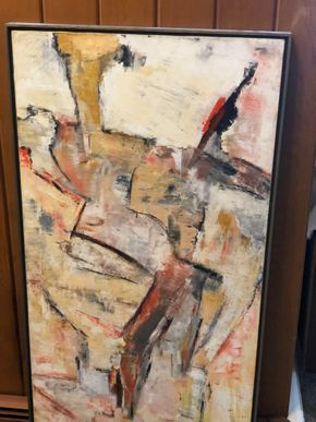 Lot 033 Large Signed ADS Oil on Canvas by Adele deSimone Tear upper left 48x24  PICK UP IN RVC