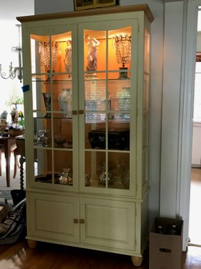 Lot 115 Ethan Allan Glass and Wood Cabinet 78.5H x 14W x 40L PICK UP IN GARDEN CITY