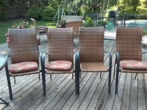 Lot 045 Lot Of 4 Outdoor Metal And Vinyl Chairs 42H x 19W x 24L PICK UP IN COMMACK