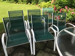 Lot 047 Lot of 6 Green Mesh Outdoor Chairs 35Hx18Wx21Long CAN BE PICKED UP IN GARDEN CITY.