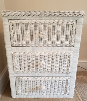 Lot 004 Wicker 3 Drawer Cabinet  25.75x 20.5W x14.625D PICK UP IN WILLISTON PARK,NY