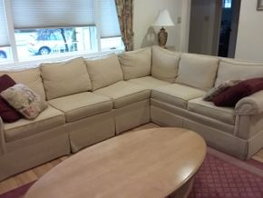 Lot 023 Ethan Allen 2 Piece Upholstered Sofa 32H x 34W x 113L x 86L PICK UP IN OCEANSIDE