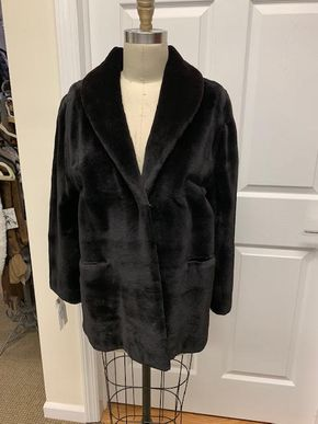 Lot 011 Black Sheered Mink Horizontal Jacket Size 12 30 inch sleeve 28 inch sweep Style 7468