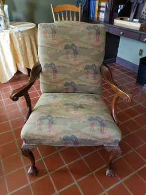 Lot 043 Vintage Armchair Upholstered Fabric Pattern of Vintage Golf Course 40.5H x 27W x 20.5L PICK UP IN GARDEN CITY, NY