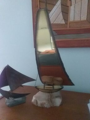 Lot 091 Pair Of Sailboat Sculptures 21.5 and 9 Inches Tall PICK UP IN OLD BROOKVILLE