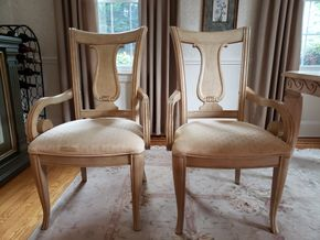 Lot 039 Lot of 2 Wood Upholstered Seat Dining Armchairs 39.5H x 21.5W x 19.25D. AS IS PICK UP IN GARDEN CITY,NY