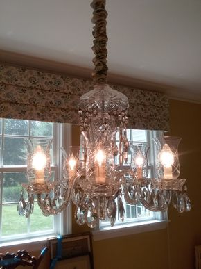 Lot 064 Crystal Chandelier  19H x 22 Inches in Diameter PICK UP IN OLD WESTBURY
