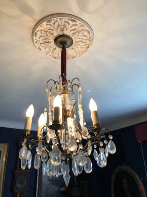 Lot 096 White Metal Crystal Hanging Light Fixture 35H x 17W
